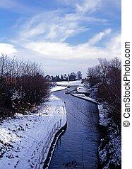 Canal landscape, England, UK.