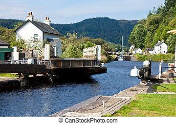 Canal Lock with bridge - Canal Lock at Cairnbaan Bridge on...