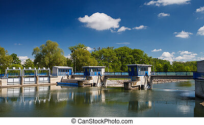 Canal lock/Floodgate/Ship lock on a river