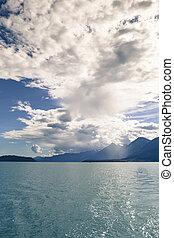 canal, lynn, sur, nuages, orage