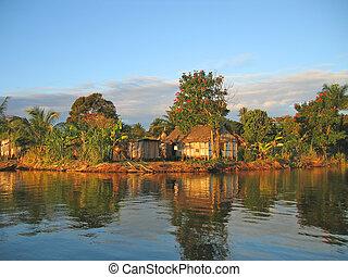canal, madagascar, des, pangalanes, ocaso, aldea, pequeño, pescador, agradable