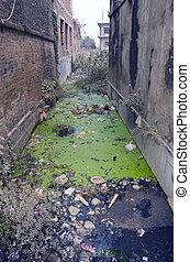 canal, népal, eau, égout, sale, déchets, pollution