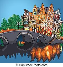 canal, noche, amsterdam, vista, vector, ciudad, puente