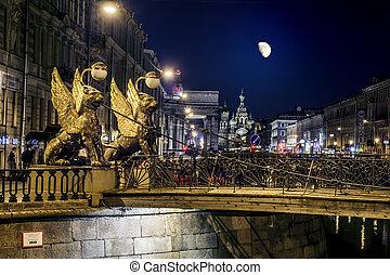 canal, noche, saint-petersburg, a través de, griboyedov, ...