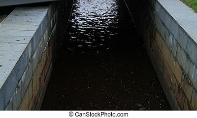 canal, noir, eau