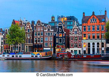 canal, noturna, holandês, amsterdão, vista, cidade, casas