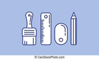 canal, outils, ligne, alpha, icône