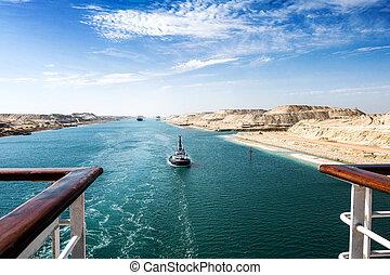 canal, pasa, convoy, extensión, oriental, -, por, crucero,...