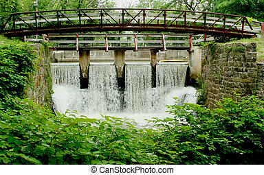 canal, puente, spillway