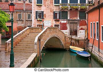 canal, puente, venecia, -, italia