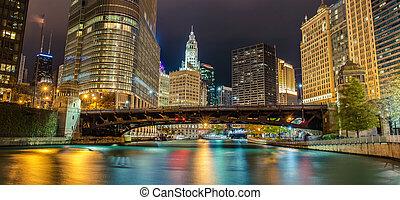 canal, réflexions, gratte-ciel, chicago, nuit, rivière, entourer