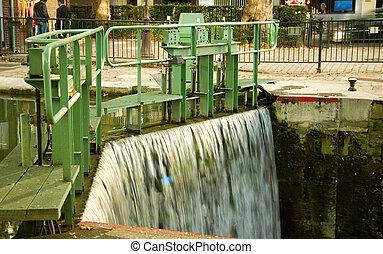 canal, saint-martin, cerradura, parís, francia, agua