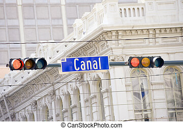 Canal street sign, major New Orleans street