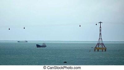 canal, suspendu, tramways, vietnam, expédition, nha, sur, trang