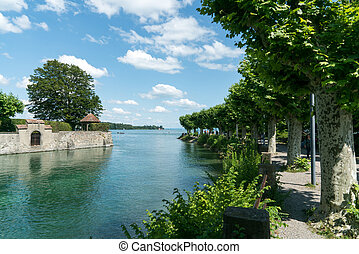canal, tree-covered, lakeside, lac île, sentier, constance
