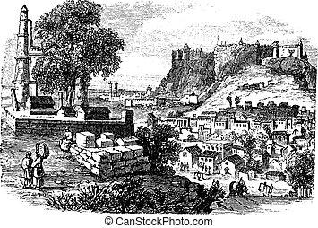 canal, vendimia, edificios, grabado, hamburgo