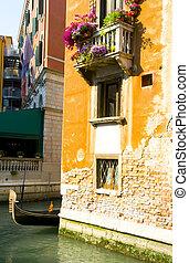 canal, venecia italia, góndola, escena, barco