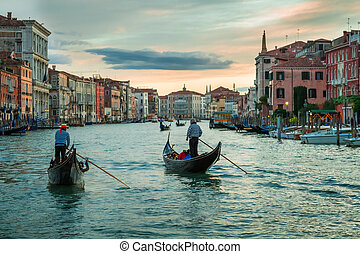 canal, venecia, ocaso, encima, magnífico