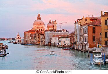 canal, veneza, pôr do sol, grandioso