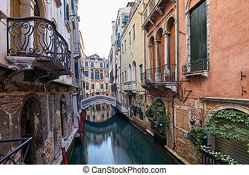 canal, venise, ancien, italie, bâtiments, façades, maisons