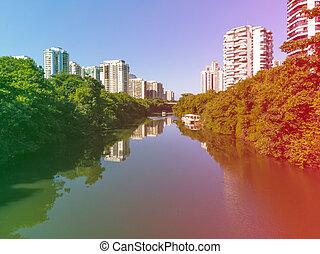 canal, verano, lados, luz, aéreo, rascacielos, ambos, ...