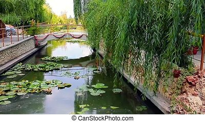 Canal With Water Lilies - Small artificial canal covered by...