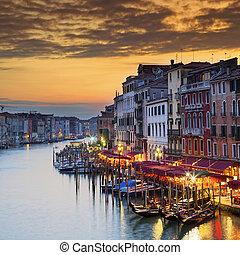canale, famoso, tramonto, grande