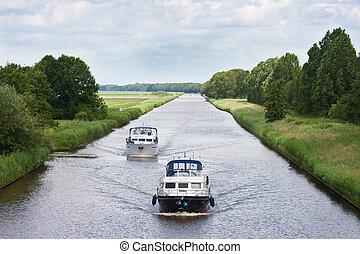 canale, navigazione, diritto, due, yacht, olandese