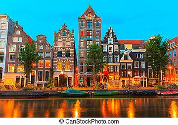 canale, notte, amsterdam, vista, città, herengracht