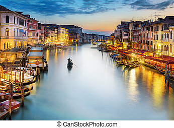 canale, notte, venezia, grande