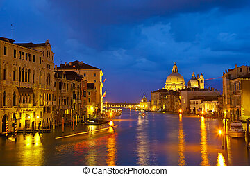 canale, sera, venezia, grande