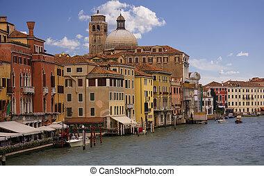 canale, venezia, vista, grande