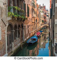canales, de, venecia, italia