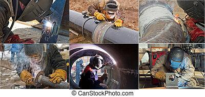 canalisations, bobines, manuel, tuyau, arc, soudure