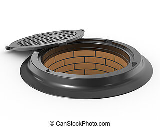canalization manhole cover on white background isolated