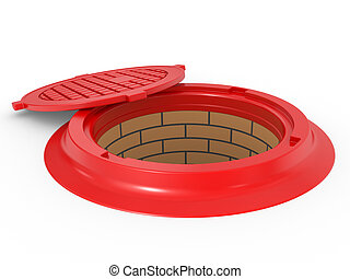 canalization red manhole cover on white background isolated
