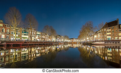 Canals in the city of Utrecht by night