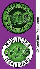 canapa, 420, disegno, marijuana, testo