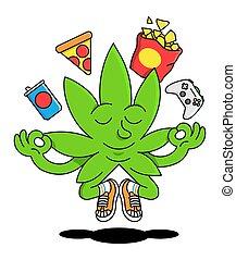 canapa, foglia verde, naturale, marijuana