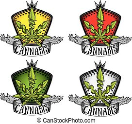 canapa, icone, foglia, verde, marijuana