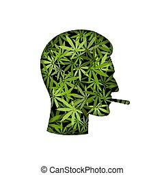 canapa, testa, maschio, silhouette, fumatore