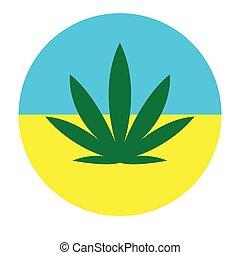 canapa, ucraino, fondo, foglia, colorare, bandiera, cerchio