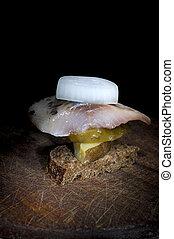 canape, ポテト, きゅうり, にしん, 玉ねぎ