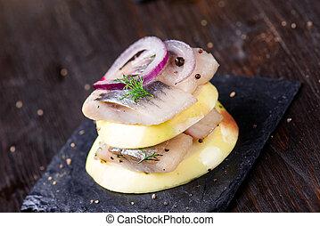 canape, 前菜, にしん, りんご