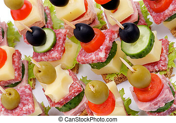 Canape Background - Background of Canape with Bacon, Salami,...