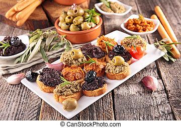 canape, buffet food