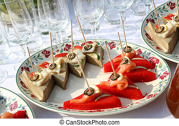 canape on the Fourchette table - Beautiful canape on the...