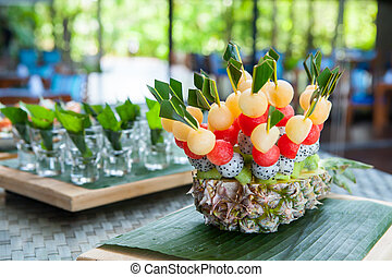 canape on wedding party - Delicious appetizer close-up...