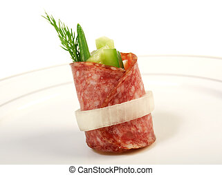 Canape platter with salami