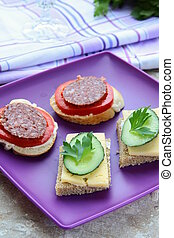 canape sandwiches with cheese